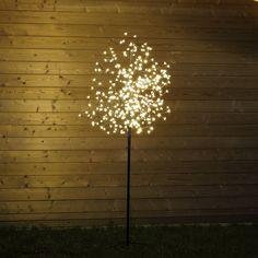 #Kirschbaum mit von LED beleuchteten Kirschblüten als Lichterbaum für außen. Der 200 cm hohe #Kirschblütenbaum ist mit 400 warmweißen LED bestückt