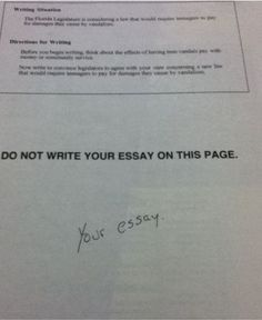 funny test answer your essay