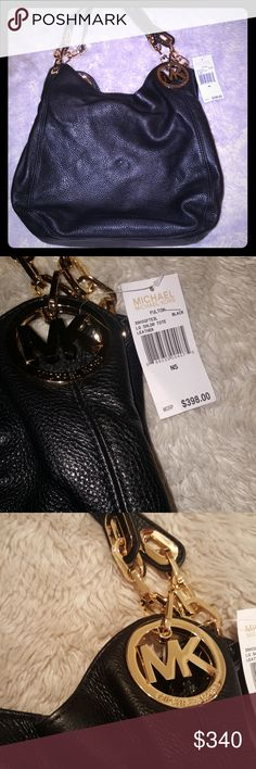 Michael kors large leather bag NWT Michael, michael kors fulton large leather shoulder purse New with tags The shoulder strap is off, could be fixed, but everything else is brand new. 13 by 11inches Designer from macys Mk Kors MICHAEL Michael Kors Bags Shoulder Bags