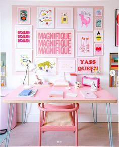 Preppy Bedroom, Bedroom Decor, Preppy Dorm Room, Plywood Desk, Do It Yourself Design, Pink Desk, Home And Deco, Home Office Decor, Pink Office Decor