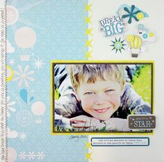 Dream Big - Dream Scrapbook Layout Project Idea. Clever use of the Sparkle Pocket Punch. Order product at www.creativememories.com/user/Candace Bouldin #ScrapinJpegs #CandaceBouldin