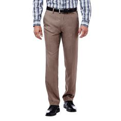 Big & Tall Haggar® Slim-Fit Performance Microfiber Flat-Front Slacks, Men's, Size: 30X36, Med Beige