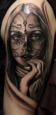 ~Sugar Skull Girl~ Plus Chicano Tattoos, Body Art Tattoos, Girl Tattoos, Sleeve Tattoos, I Tattoo, Tatoos, Picture Tattoos, Tattoo Photos, Day Of Dead Tattoo
