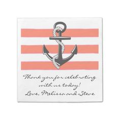 Peach Nautical Thank You Wedding Paper Napkins, sold, thanks to the customer in FL