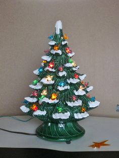 vintage ceramic christmas tree electric plastic bird bulbs snow capped light up decoration large