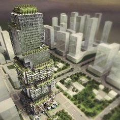 Vertical Stacked City designed by WOHA Architects.  #Shenzhen #China