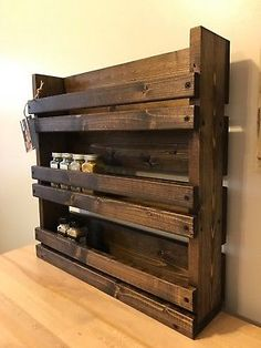 Details about Spice Rack Kitchen Organizer Storage 3 Shelf Wall Mount Wood Wooden Rustic House Spice Spice Rack Rustic, Diy Spice Rack, Pallet Spice Rack, Spice Shelf, Spice Rack Made From Pallets, Diy Rack, Unique Home Decor, Home Decor Items, Diy Home Decor