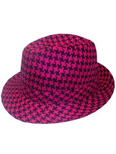 Hot Pink & Black Houndstooth Fedora - ooooh I want one of these!!!