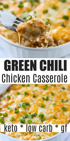 Green Chili Chicken Casserole Chicken enchilada casserole with green chili sauce that's also a low carb, gluten free, and keto chicken casserole for dinner. Cooks in 20 mins when you use rotisserie or pre-cooked chicken. Pre Cooked Chicken, Easy Chicken Dinner Recipes, Low Carb Chicken Recipes, Healthy Recipes, Keto Recipes, Low Carb Crockpot Chicken, Soup Recipes, Dessert Recipes, Shake Recipes