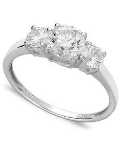 Arabella 14k White Gold Ring, Swarovski Zirconia Small Three Stone Ring (2-3/8 ct. t.w.) - Wedding & Engagement Rings - Jewelry & Watches - Macy's