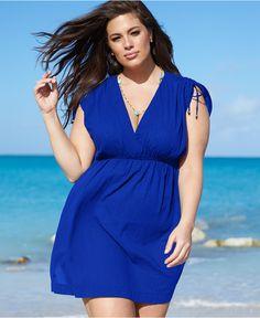 7024231bfec Lauren Ralph Lauren Plus Size Short-Sleeve Shoulder-Tie Cover Up - Swimwear  -