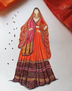 Indian Wedding Wear, Indian Bridal Outfits, Indian Dresses, Fashion Drawing Dresses, Fashion Illustration Dresses, Fashion Dresses, Indian Illustration, Wedding Illustration, Fashion Model Sketch