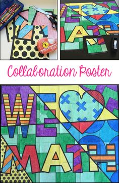 "FREE ""We Love Math"" collaboration poster. Brighten up your bulletin boards!"