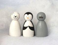 Winter Wonderland Animal Peg Doll Trio