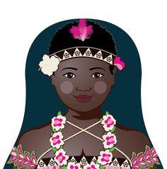 This is my Bougainvillean Matryoshka (aka- babushka, nesting doll, Russian doll, stacking doll) a print of an original illustration by me, Amy