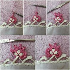 This Pin was discovered by Ayl Crochet Borders, Crochet Lace, Crochet Stitches, Crochet Patterns, Diy And Crafts, Arts And Crafts, Tatting Tutorial, White Eyeliner, Needlework