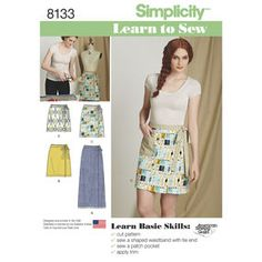 Simplicity Pattern 8133 Misses' Learn to Sew Wrap Skirts