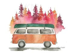 VW Bus in Autumn - Watercolor painting, Forest Print, Nature Print, Canoe, Home . Nature Prints, Nature Paintings, Watercolor Print, Watercolor Illustration, Bus Art, Forest Painting, Autumn Art, Art Sketchbook, Art Inspo