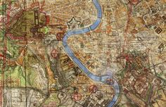 'Depictions of Rome 1922-1944' (detail), 2012, 420 x 300 cm, Composite of 48 Italian and Allied maps of Rome 1922-1944   Gert Jan Kocken