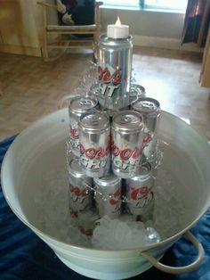 Beer can cake. I like the bucket w/ ice. Practical. Awesome. And really easy!