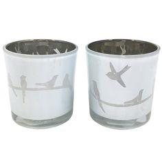 Set of 2 Bird Candle Holder Grey