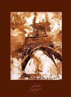 Ritók Lajos Eifel Tower, Tus rajz, Ink Drawing