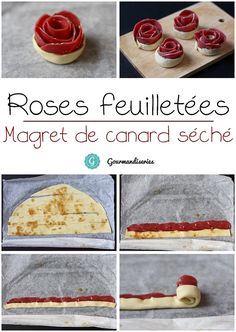 Rose de magret de canard par Gourmandiseries Great Recipes, Snack Recipes, Cooking Recipes, Snacks, Mini Desserts, Muffins, Food Decoration, Christmas Drinks, Diy Food