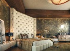 hoher bett kopfteil weiß gesteppt wandspiegel luxus