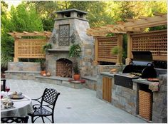 Outdoor fireplace w/built-in outdoor kitchen & pergola Outdoor Rooms, Outdoor Living, Outdoor Kitchens, Outdoor Decor, Outdoor Photos, Built In Grill, Outside Living, Summer Kitchen, Outdoor Kitchen Design