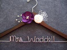This is stunning!  I love it Wedding Dress Hanger with Purple Flowers - Bridal Hanger - Mrs Hanger - Personalized Bride Gift - Shower Gift - Custom Hanger
