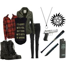 """Supernatural"" by lavona on Polyvore. I like how this includes a gun and a baseball bat."