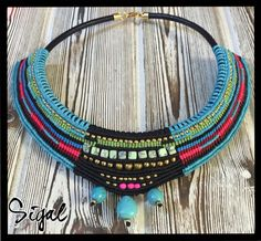 Micro macrame tribal necklace on 5 mm leather cord