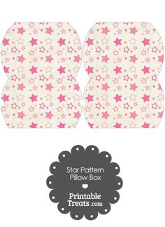 Small Vintage Pink Star Pattern Pillow Box from PrintableTreats.com