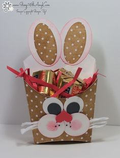I saw two cute Easter Bunny treat holders out on Pinterest made with the Stampin' Up! Fry Box Bigz L Die and I loved them both so much that I had to make them and share them with you today! A box v...