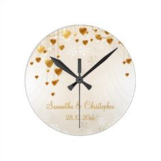 Gold Hearts and Snowflakes Wedding Memento Round Wall clock gift Christmas Party Invitation, engagement party, wedding shower, wedding reception or anniversary