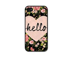 Heart Hello Black and Peach Floral iPhone Case by fieldtrip