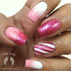 Super Pink Nails #pinkmani #glitter #nailenvy #nailart - bellashoot.com