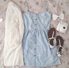 Cute, simple denim playsuit outfit :)