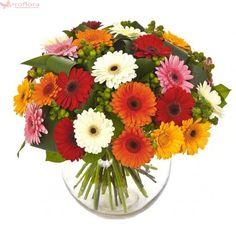 Cromatic - Buchet din gerbera multicolora Vase, Illustration, Floral Wreath, Bouquet, Inspiration, Plants, Decor, Hot Pink, Creative