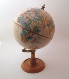 "Vintage 1980s World Globe Replogle 9"" metal planet earth globe office – Late Boomer Vintage -- #vintagehome #vintageglobe #worldglobe #vintagedecor"