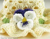 Crochet Baby Hat Pansy Easter Bonnet Toddler Digital Download PDF Crochet Pattern. $6.00, via Etsy.