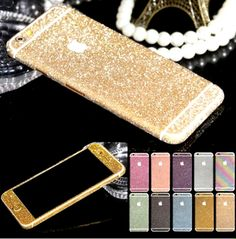 Glitter Phone Stickers Skin iphone 5 5s 6 6s Decals Bling Full Covers Protector