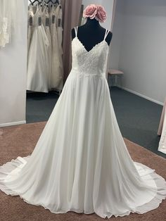 An ethereal a line style with a v neckline, double hand beaded straps, a lace bodice, hand beaded detail and finished with a double strap back detail Discount Designer Wedding Dresses, Lace Bodice, Dream Wedding Dresses, Bridal Boutique, Ethereal, Townhouse, Neckline, Detail, Formal Dresses