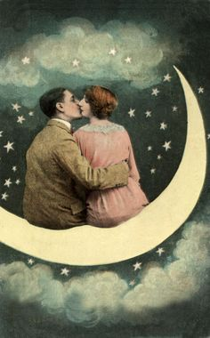 Lovers on a Paper Moon - Romantic Wall Art - Paper Moon Kiss - Art Nouveau Print - Bedroom Wall Art - Wall Art - Gift for Loved One Vintage Moon, Vintage Art, Vintage Images, Vintage Kiss, Vintage Paper, Retro, Kiss Art, Moon Photos, Sun Moon Stars