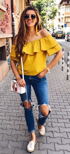 61984a8d0 #summer #outfits Yellow Ruffle Off The Shoulder Top + Destroyed Skinny Jeans  + White