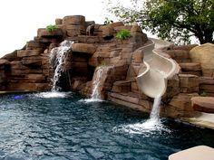 House Swimming Pool Rocks Wood Waterfall Water Swimming Pool