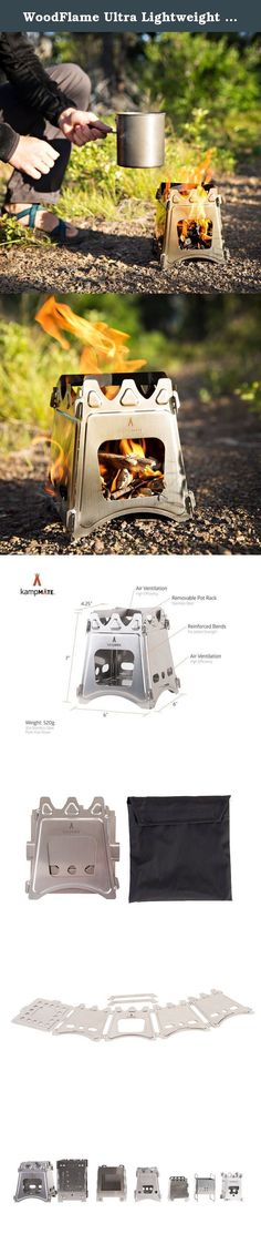 """WoodFlame Ultra Lightweight Wood Burning Stove, Camping Stove, Backpacking Stove, Stainless Steel with Nylon Carry Case - Perfect for Survival Packs & Emergency Preparedness by kampMATE. The kampMATE WoodFlame Wood Burning Stove is the most portable, versatile and easy to use cooking camp stove on the market today. This camp wood stove has a 6"""" x 6"""" x 4"""" burning chamber that allows the mule-fuel stove to generate a high BTU output for all your cooking needs. Being thin and portable makes..."""
