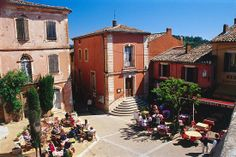 Downtown With Cafes, Roussillon, Languedoc Roussillon, France - eStock