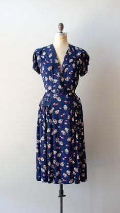 1940s dress / rayon 40s dress / A Tisket, A Tasket dress. $158.00, via Etsy.