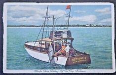 Cat Cay Bahamas Bluefin Tuna Fishing-Fishermen hauling Bluefin onto the Neptune St Thomas Virgin Islands, Tuna Fishing, British West Indies, Boat, Vintage, Dinghy, Boats, Vintage Comics, Ship